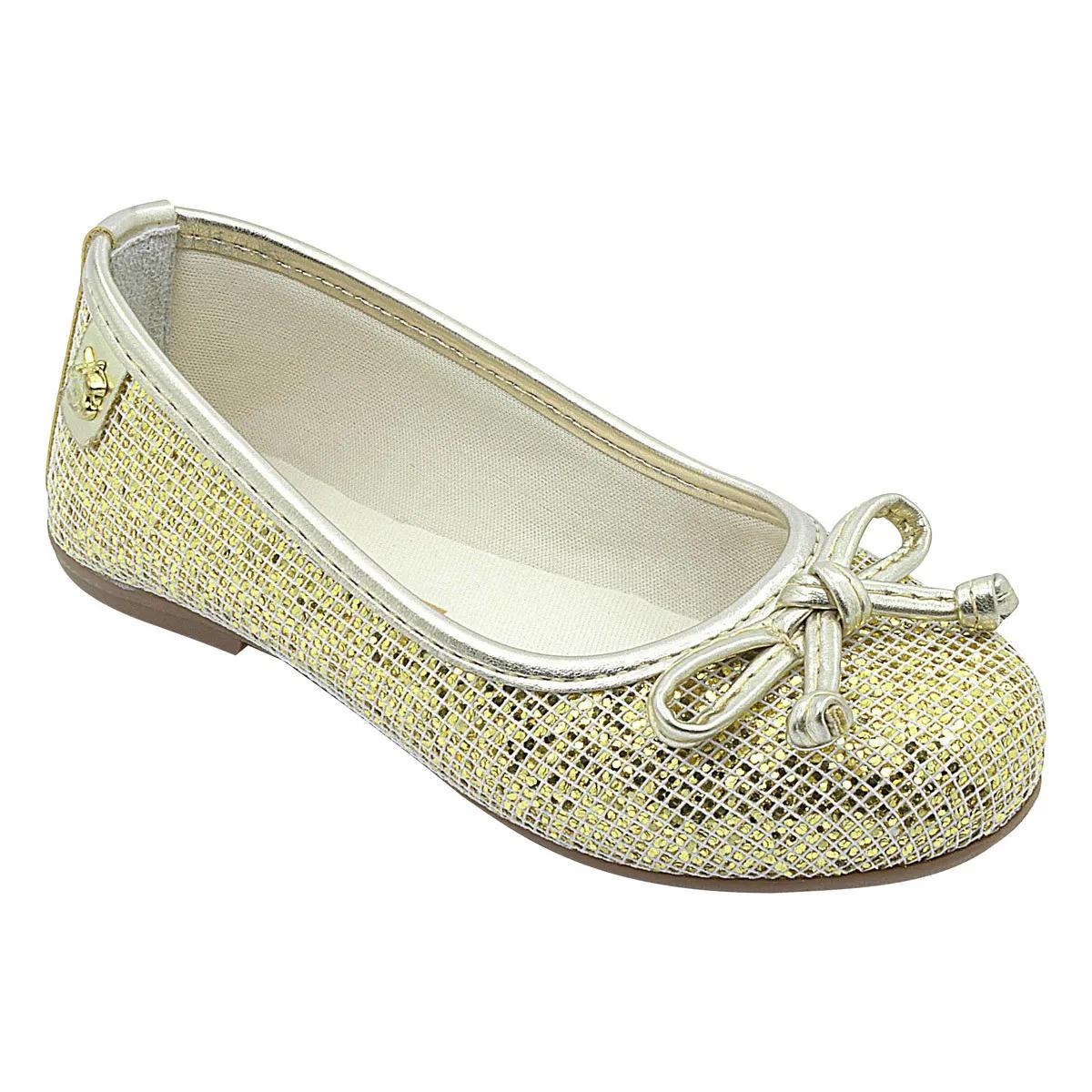 Sapatilha Infantil Glitter Dourada com Lacinho Feminina