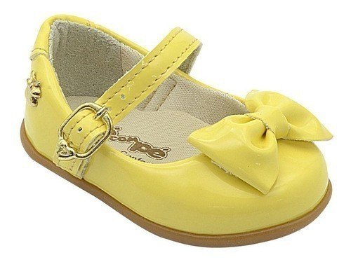 Sapatilha Infantil Pé com Pé com Lacinho Amarelo Bebê Menina