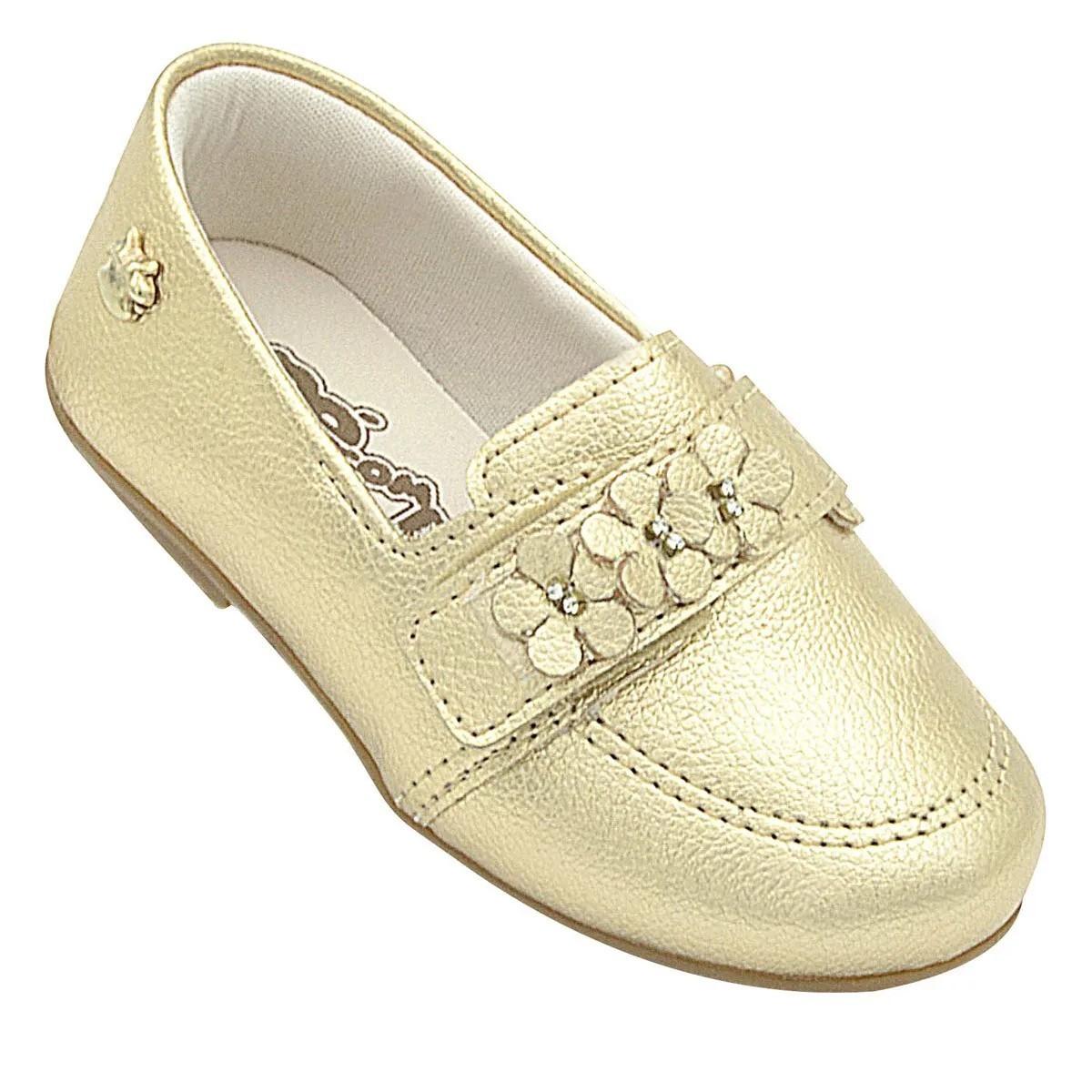 Sapatilha Infantil Pé com Pé Dourada Flores Velcro Menina