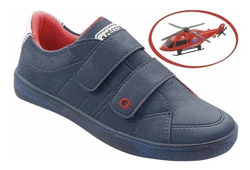 Sapato Infantil Azul + Brinde Helicóptero Masculino