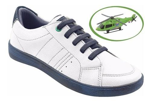 Tênis Casual Infantil Branco + Brinde Helicóptero Menino