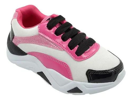 Tênis Chunky Infantil Branco e Pink  Feminino