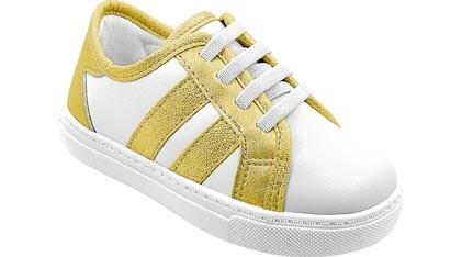 Tênis Infantil Branco e Dourado Metalizado Menina