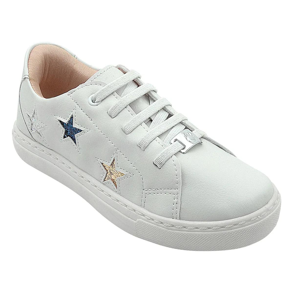 Tênis Infantil Branco Estrelas Glitter Feminino