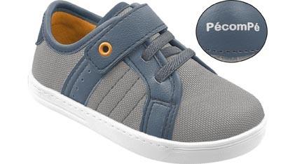 Tênis Infantil Calce Fácil Cinza e Azul Jeans Menino