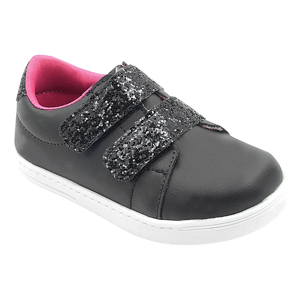 Tênis Infantil com Velcro Duplo Glitter Preto Feminino