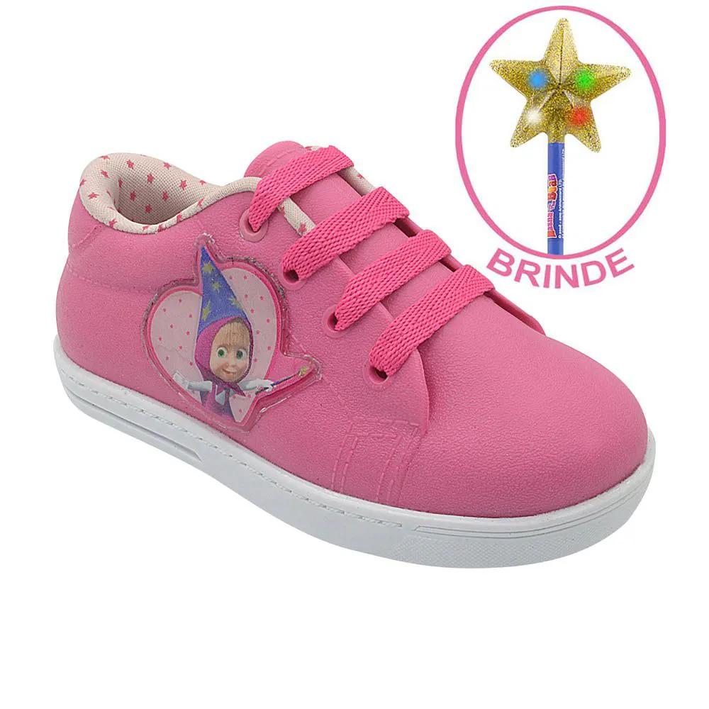Tênis Infantil Emborrachado Masha e o Urso Pink Menina