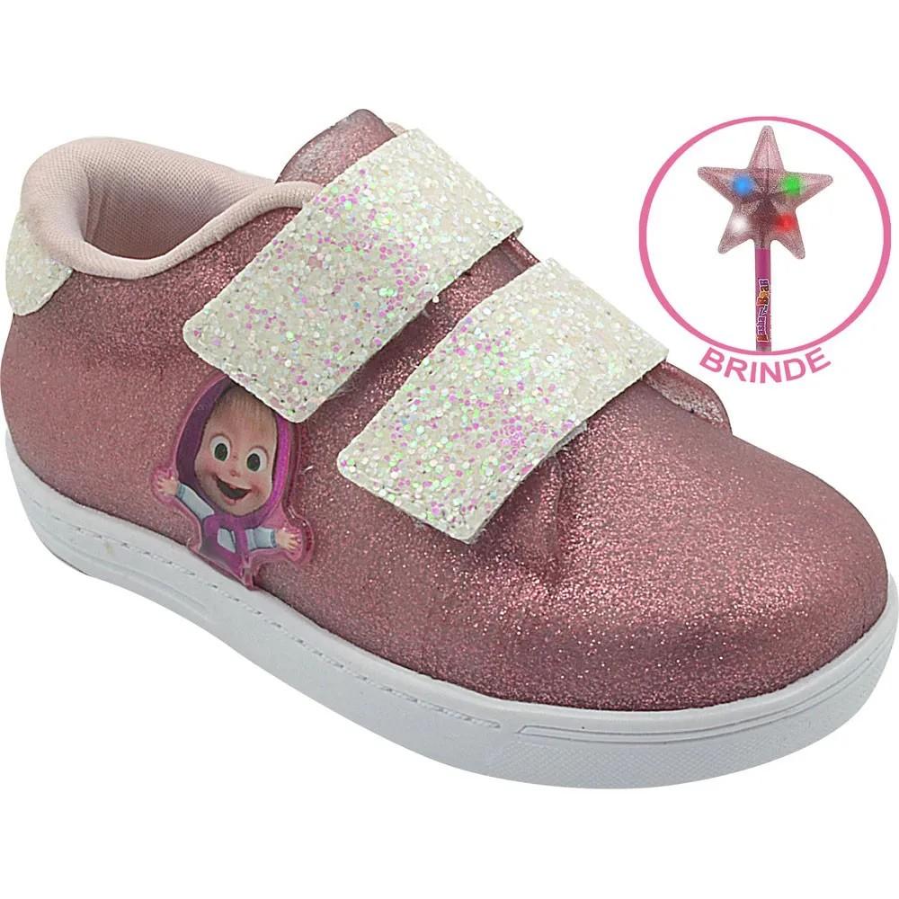 Tênis Infantil Emborrachado Masha e o Urso Pink Glitter Menina com Brinde
