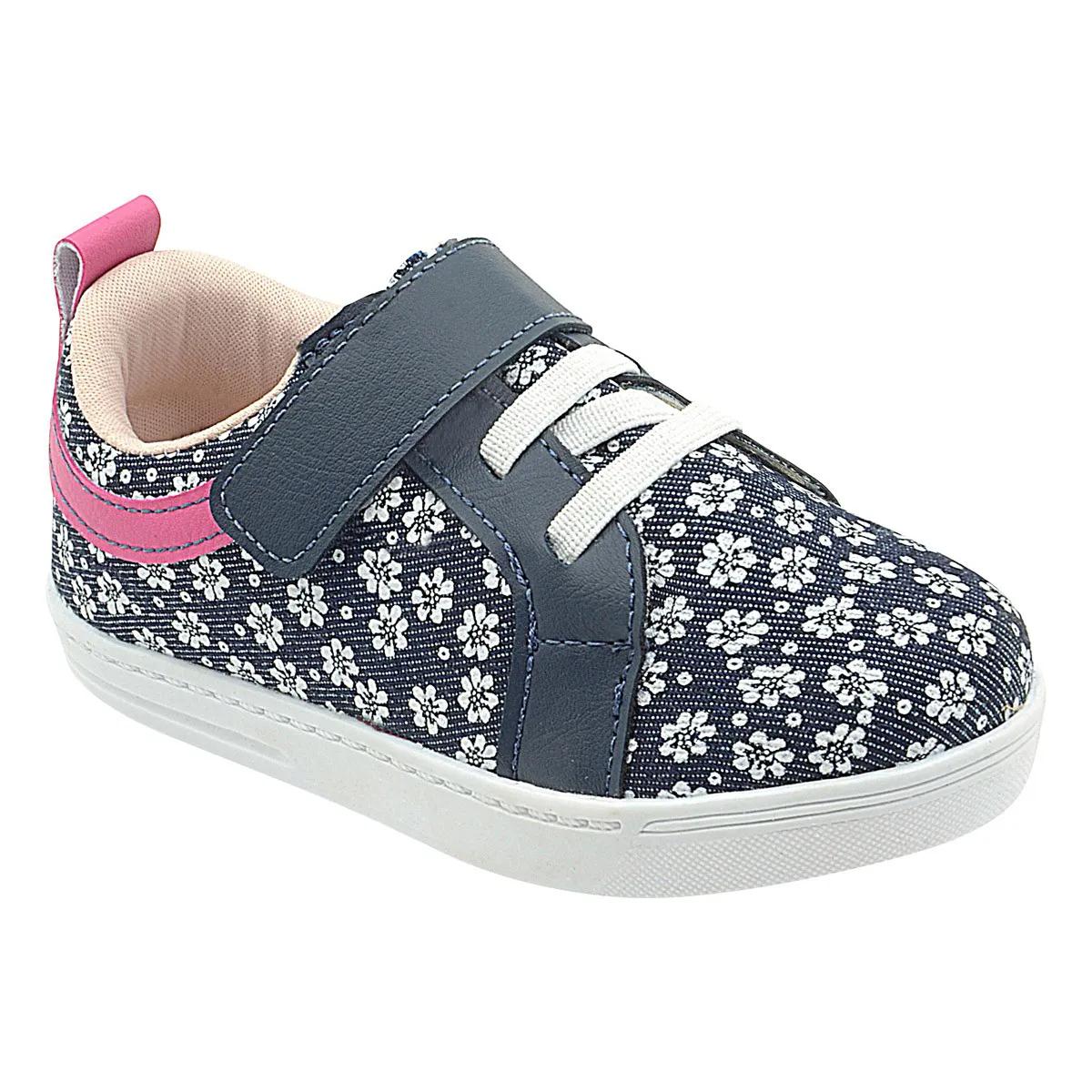 Tênis Infantil Jeans com Florzinhas Feminino