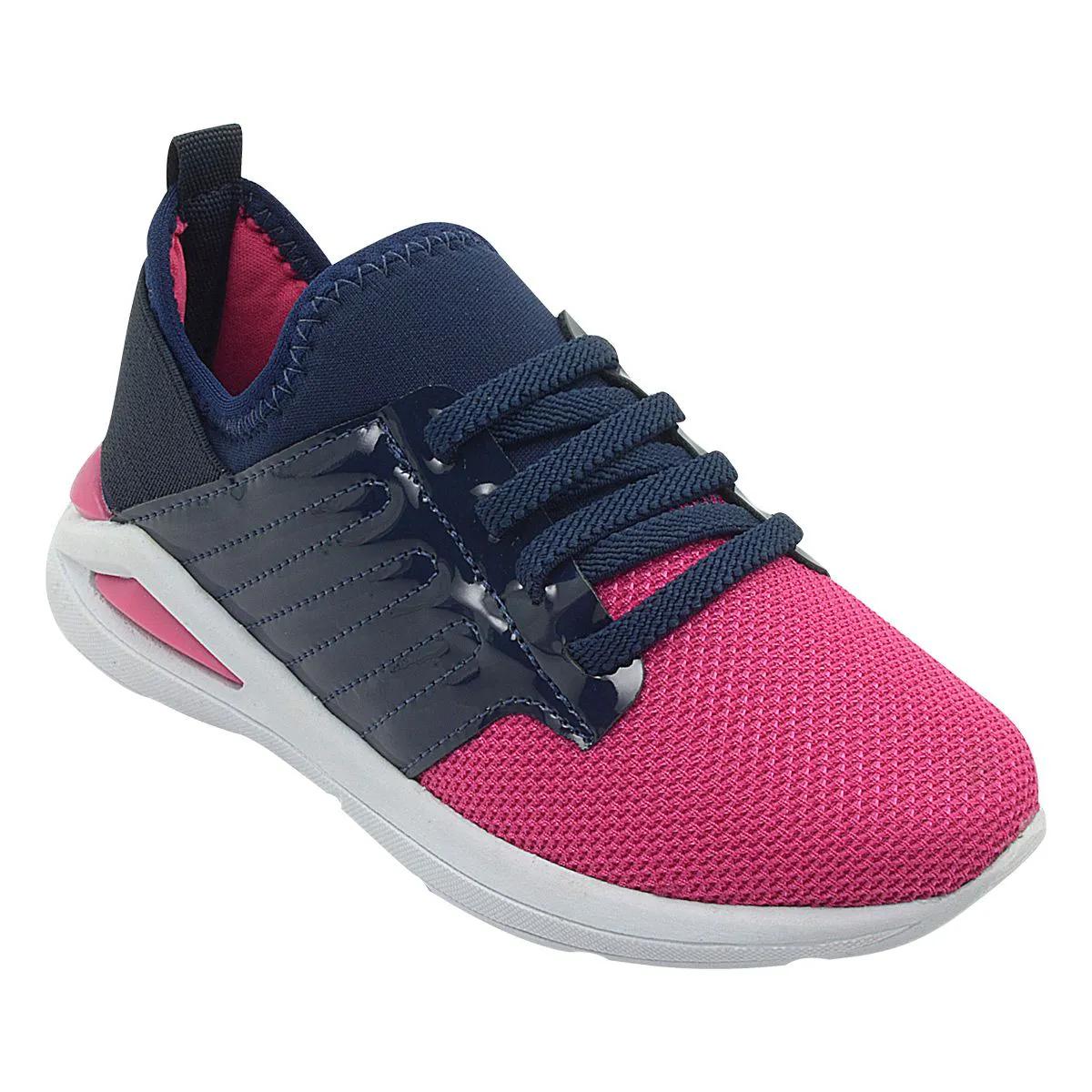 Tênis Infantil Jump Calce Fácil Marinho e Pink Feminino