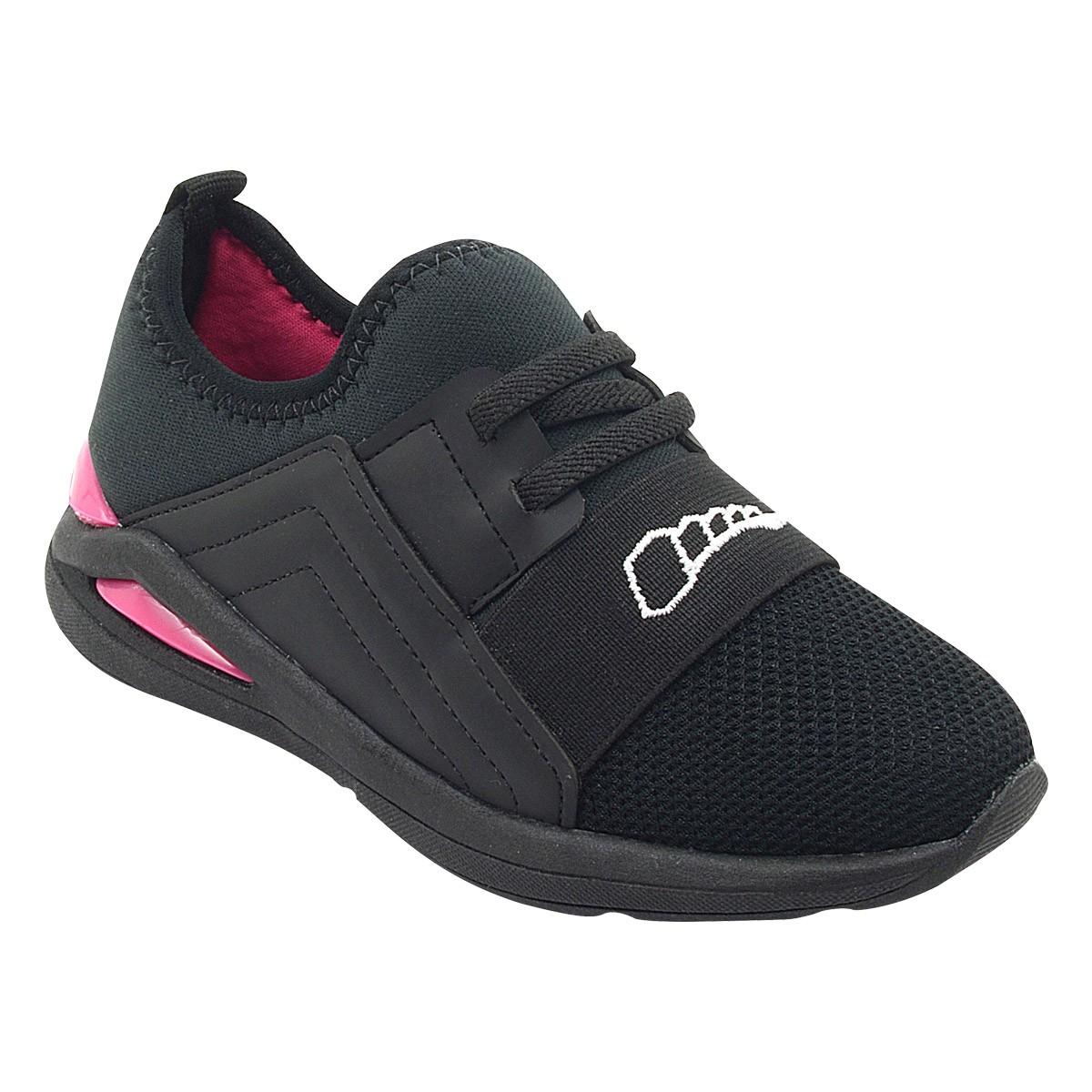 Tênis Infantil Jump Calce Fácil Preto e Pink Menina
