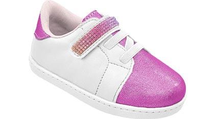 Tênis Infantil Neném Branco Pink com Brilho Velcro Menina