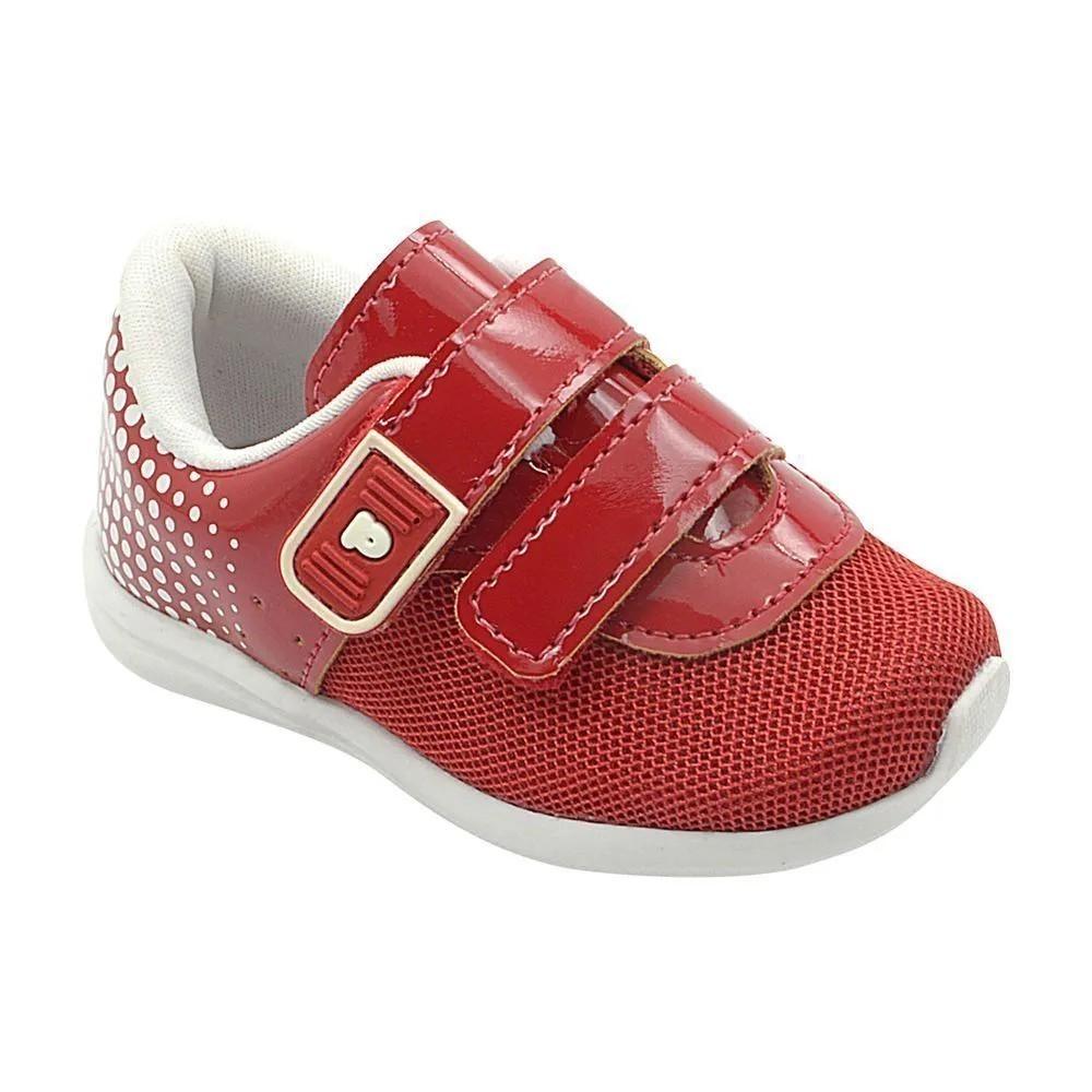 Tênis Infantil Pé com Pé Calce Fácil Vermelho Velcro Menina