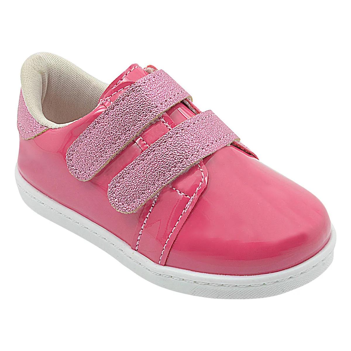 Tênis Infantil Pé com Pé Pink com Glitter Menina Calce Fácil
