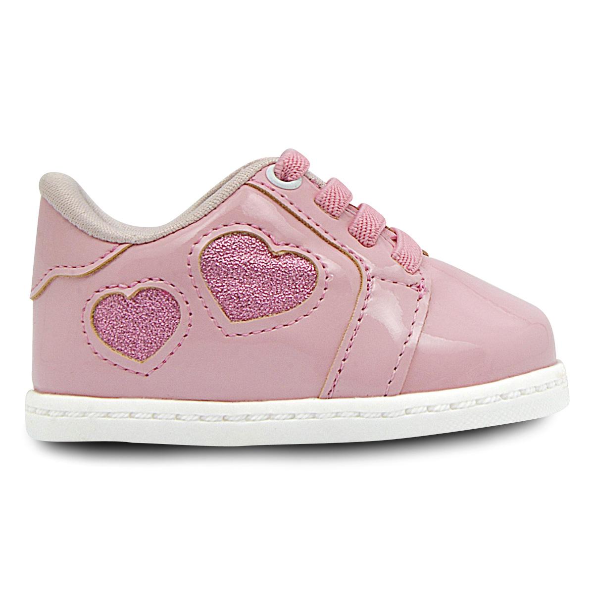 Tênis Infantil Neném Rosa com Coração Glitter Elástico Menina