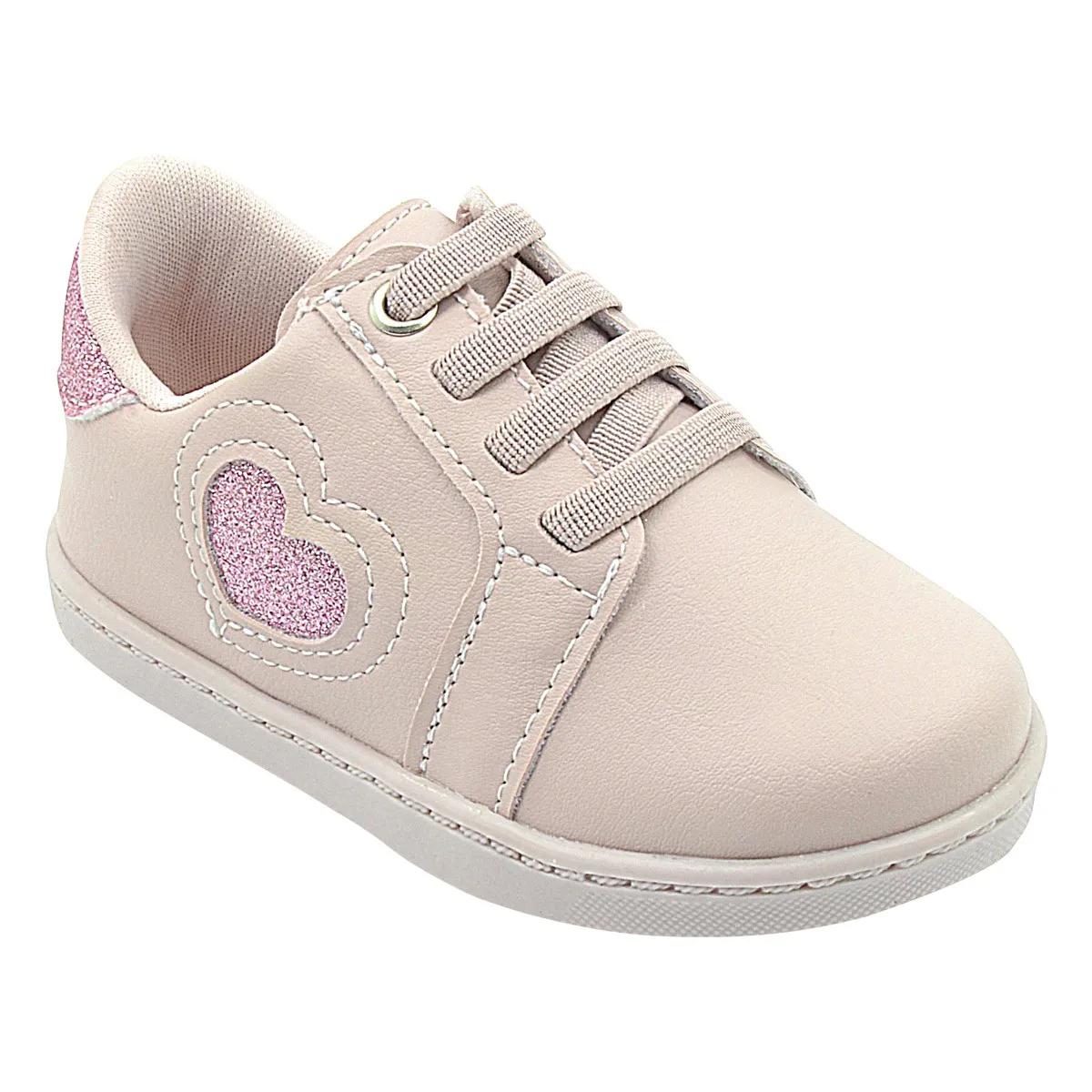Tênis Infantil Neném Rosa com Coração Glitter Feminino