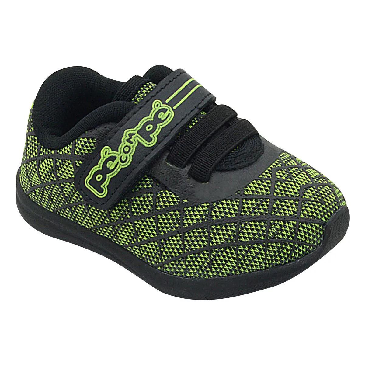 Tênis Infantil Pé com Pé Velcro Preto com Verde Menino