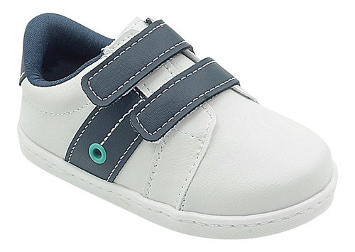 Tênis Infantil Pé com Pé Branco Calce Fácil Velcro Menino