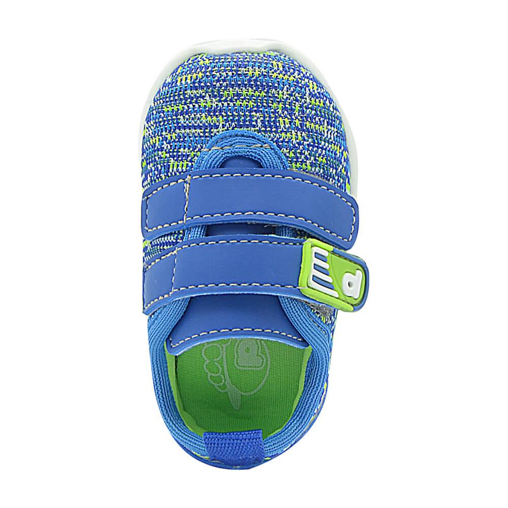 Tênis Infantil Pé com Pé Calce Fácil Velcro Azul Menino