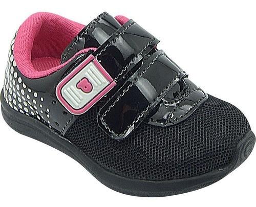 Tênis Infantil Pé com Pé Calce Fácil Velcro Duplo Preto
