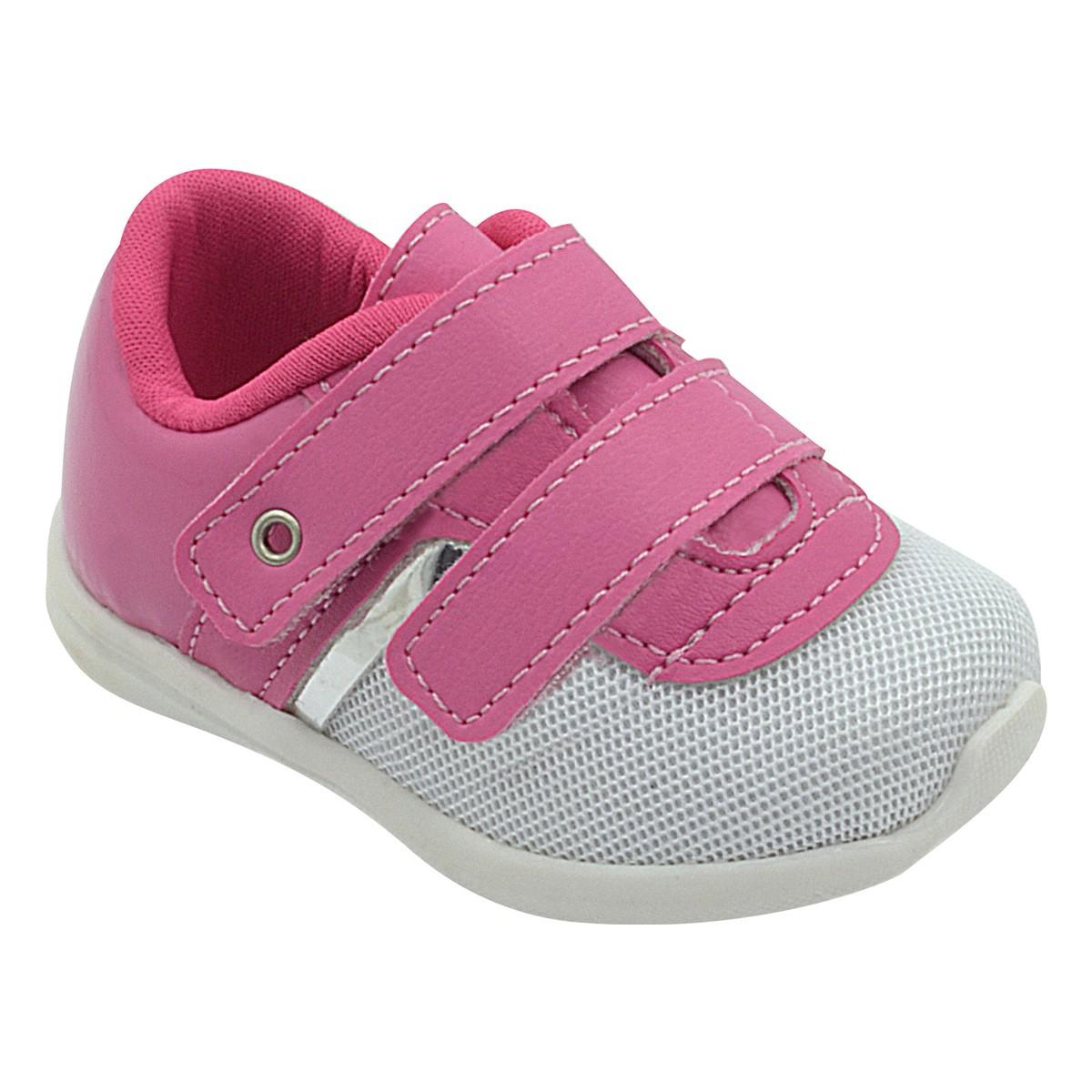 Tênis Infantil Pé com Pé Calce Fácil Velcro Pink Menina