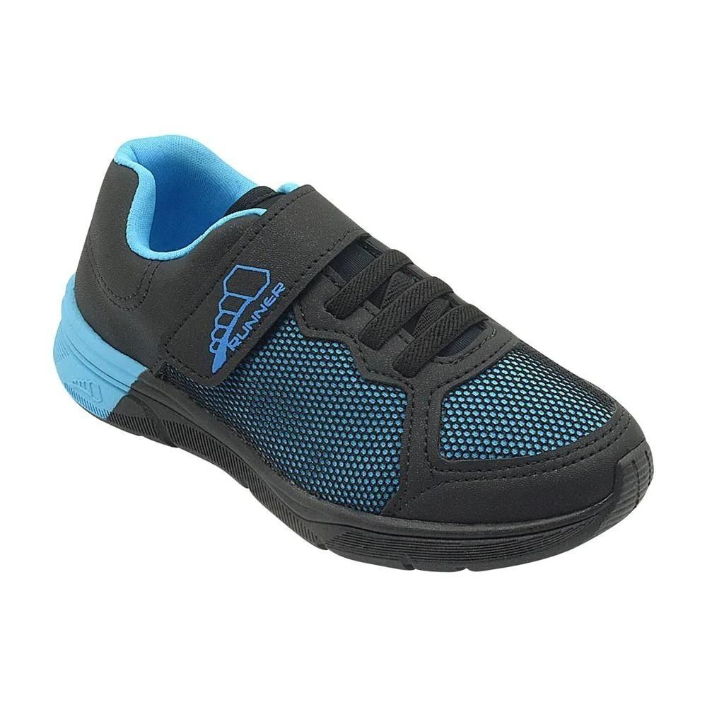 Tênis Infantil Pé com Pé Preto e Azul Velcro Menino