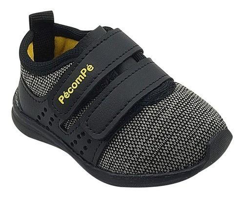 Tênis Infantil Pé com Pé Velcro Calce Fácil Preto Menino