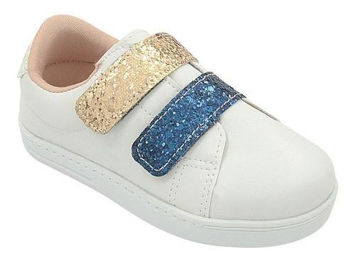 Tênis Infantil Pé com Pé Velcro Duplo Glitter Menina