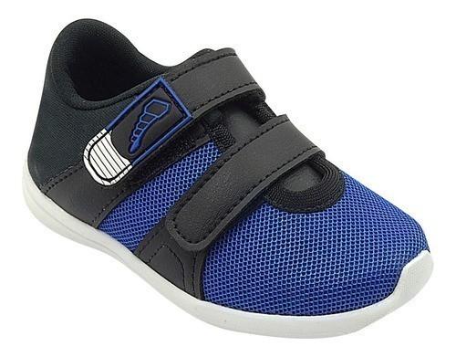 Tênis Infantil Pé com Pé Velcro Duplo Preto com Azul Menino