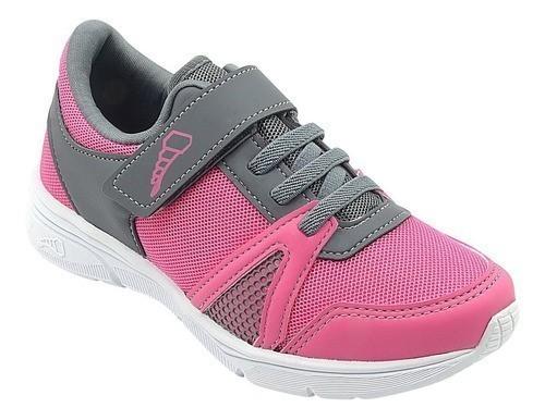 Tênis Infantil Pé com Pé Velcro Pink com Cinza Menina