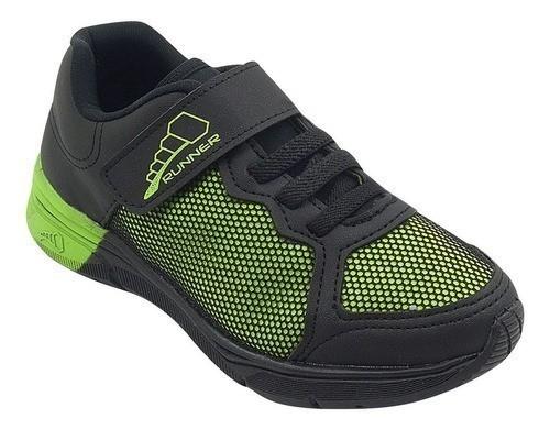 Tênis Infantil Pé com Pé Velcro Preto e Verde Menino