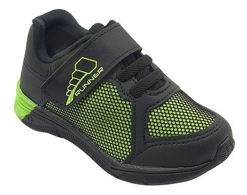 Tênis Infantil Pé com Pé Velcro Verde e Preto Menino