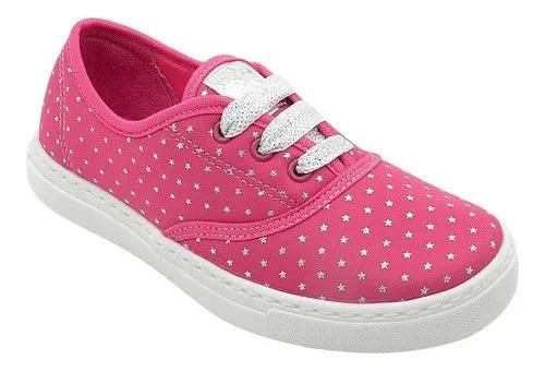 Tênis Infantil Pink Com Estrelas Pé com Pé Feminino