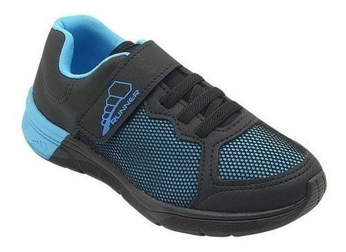 Tênis Infantil Runner Azul e Preto Masculino