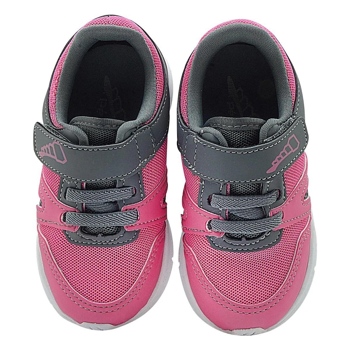 Tênis Infantil Pé com Pé Calce Fácil Pink com Cinza Menina