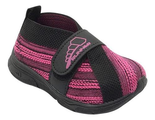 Tênis Infantil Runner Pink E Preto Feminino
