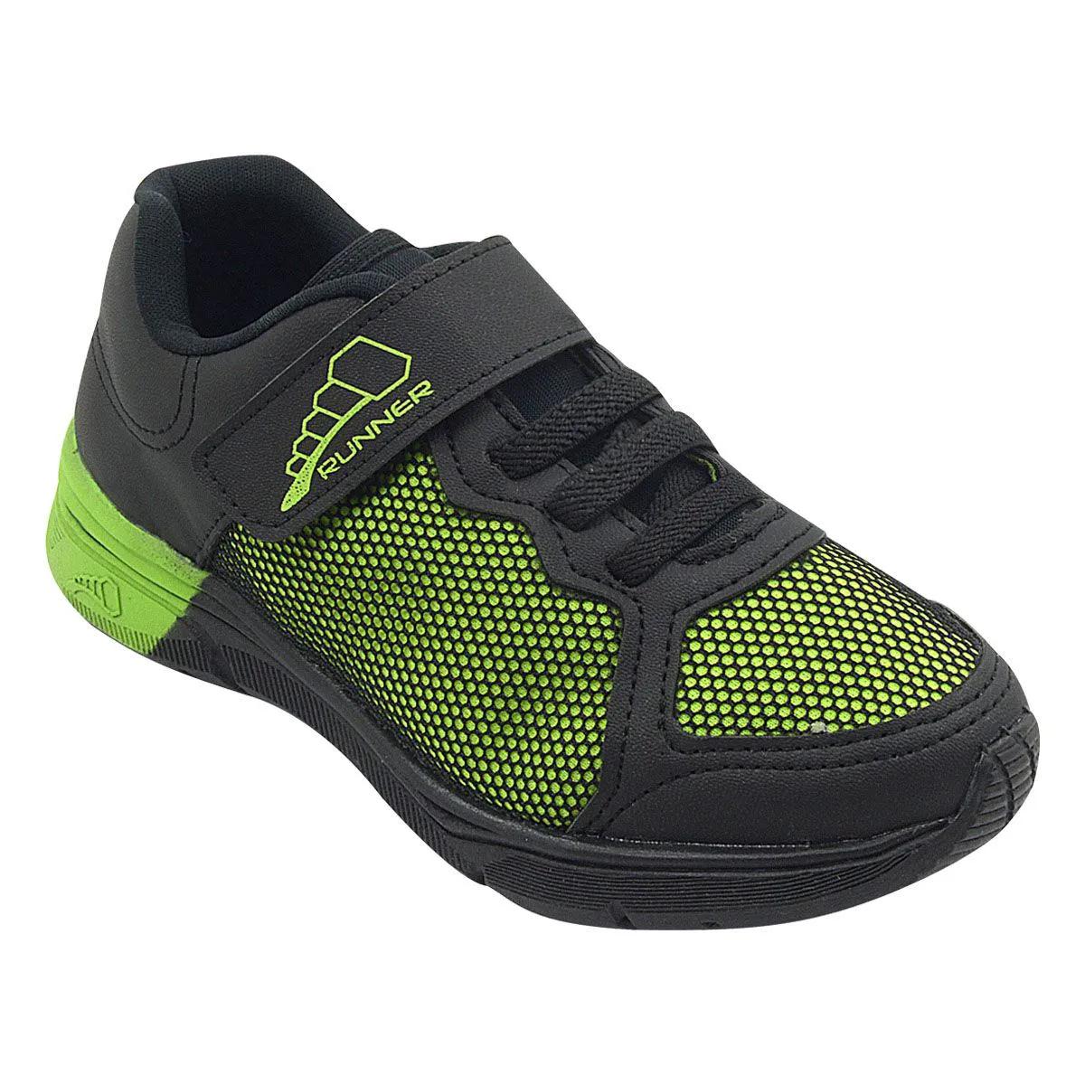 Tênis Infantil Runner Preto e Verde Velcro Masculino
