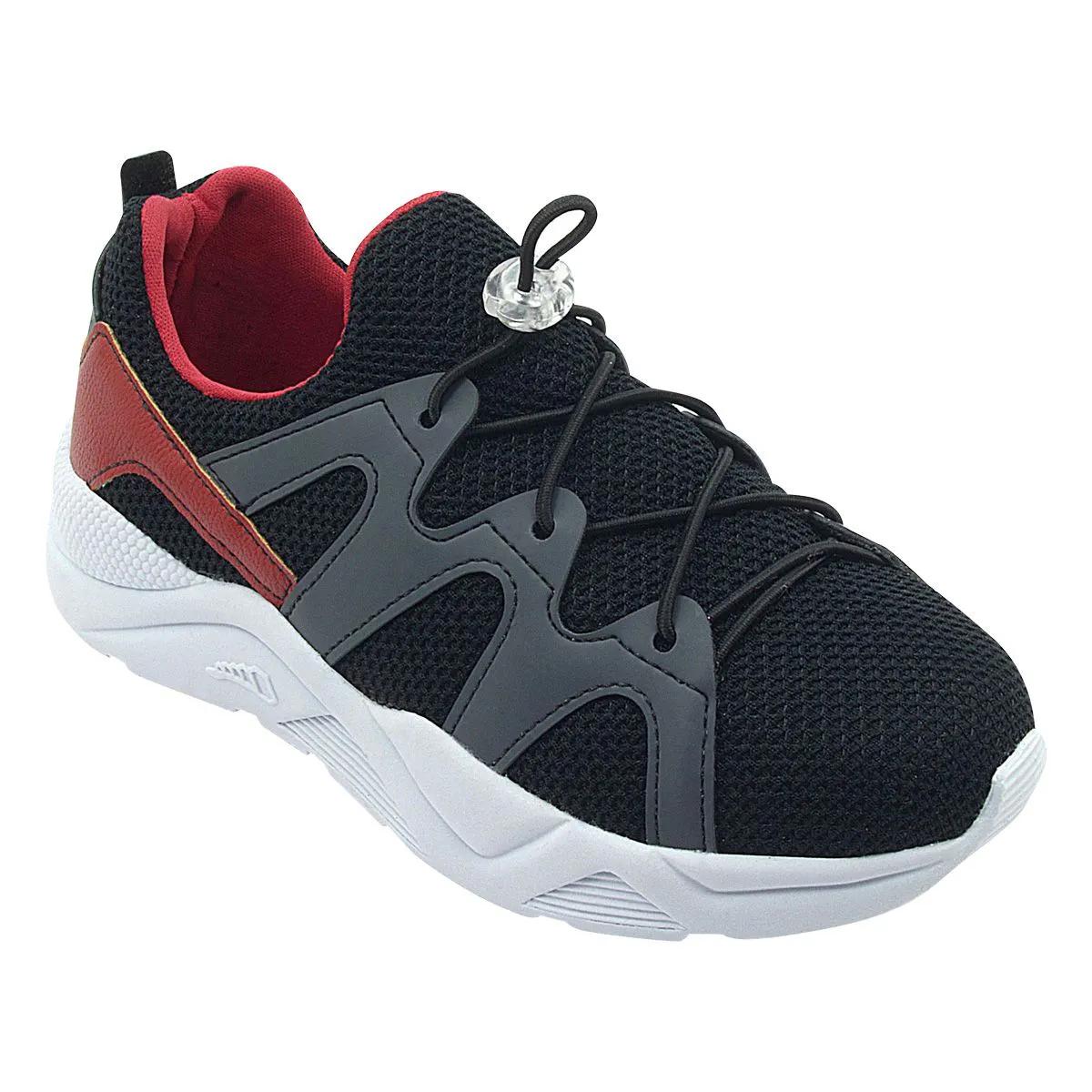 Tênis Infantil Sneaker Com Elástico Preto Menino