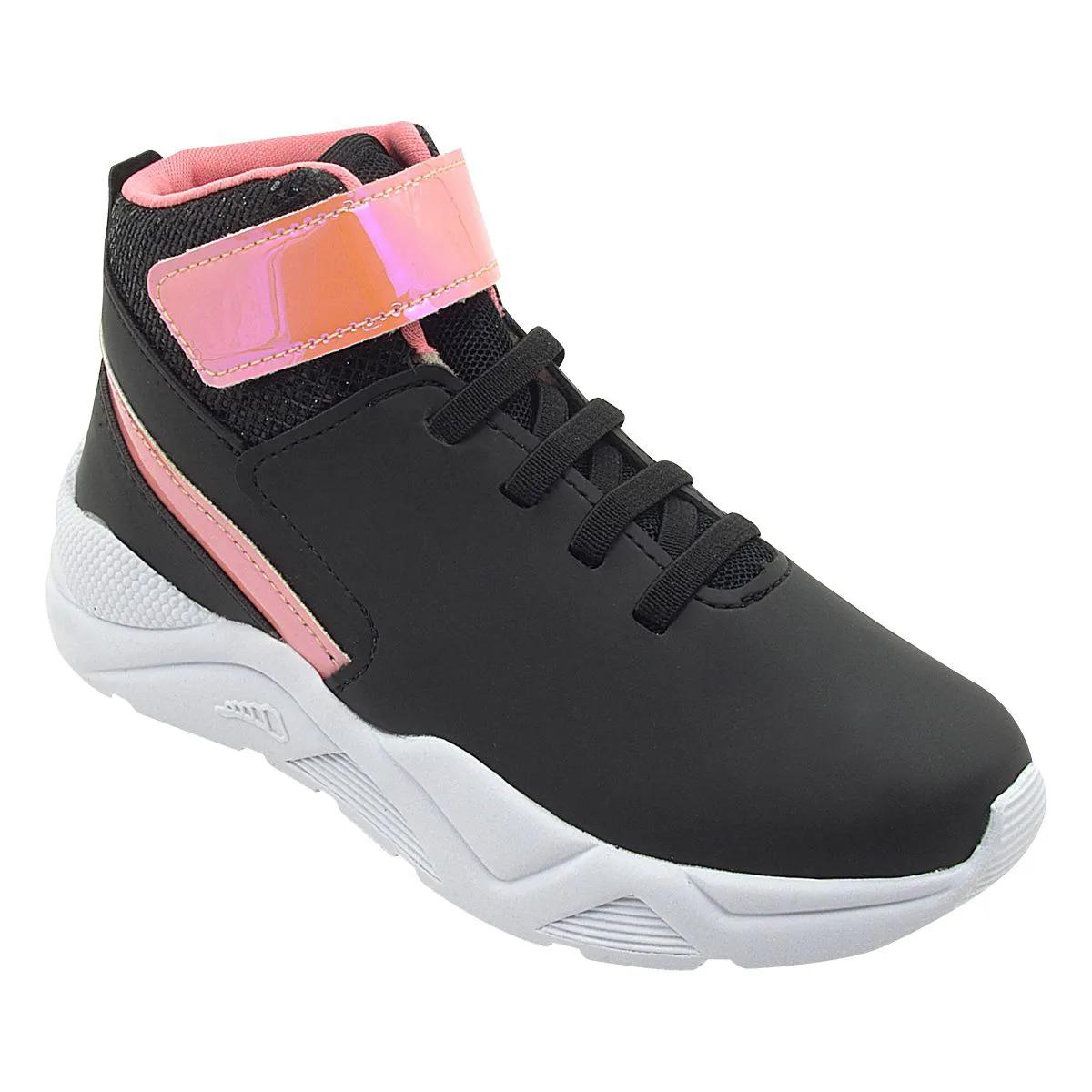 Tênis Infantil Sneaker Cano Alto Preto e Rosa Feminino