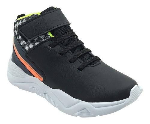 Tênis Infantil Sneaker Cano Alto Preto Menino