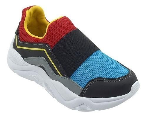 Tênis Infantil Sneaker Com Elástico Preto e Vermelho Menino