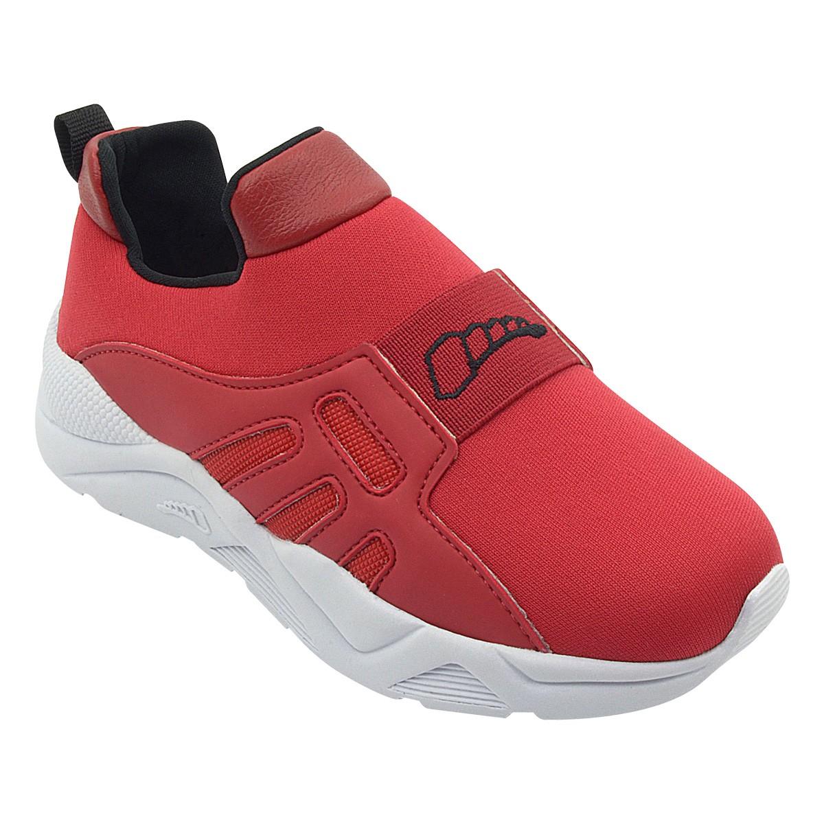 Tênis Infantil Sneaker Com Elástico Vermelho Menino