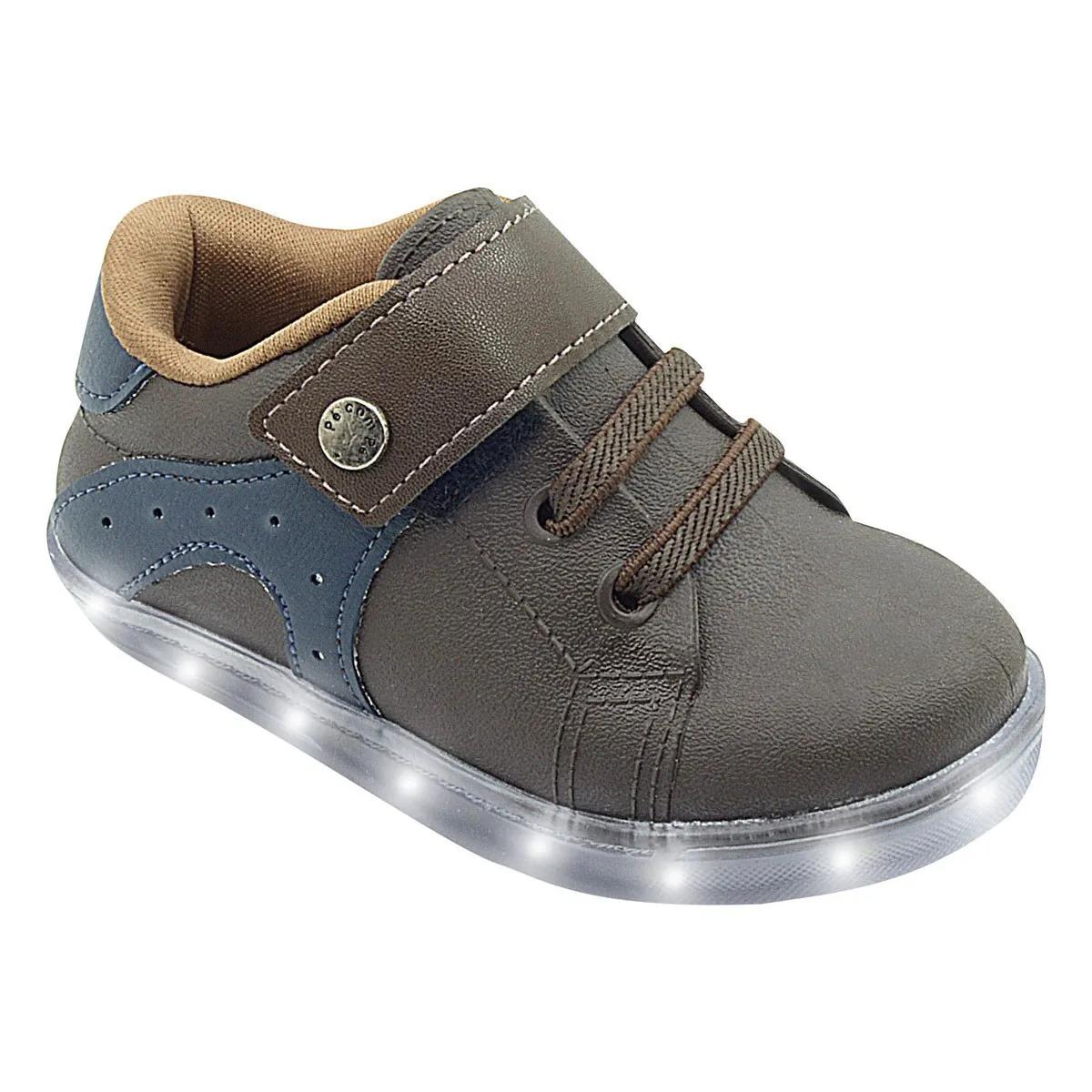 Tênis Infantil Sneaker com Led Marrom Menino