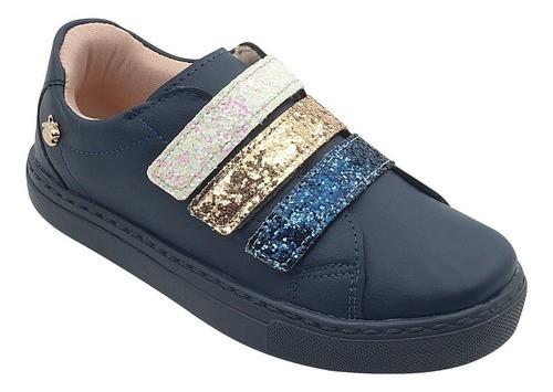 Tênis Infantil Velcro Gliter Azul Marinho Menina