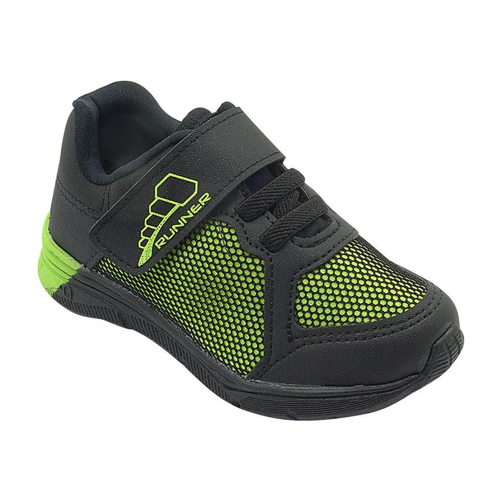 Tênis Infantil Velcro Verde e Preto Masculino
