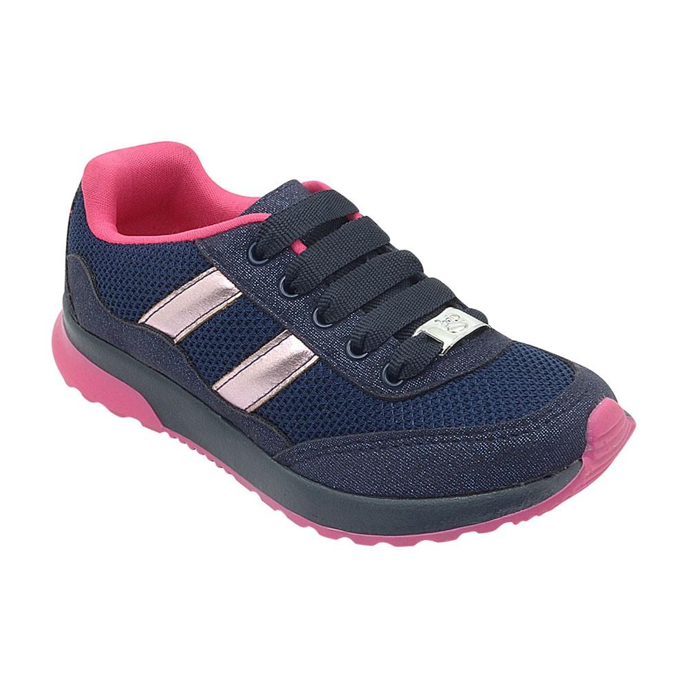 Tênis Jogging Infantil Azul Marinho com Pink Menina