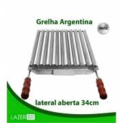 Grelha Argentina Churrasqueira lateral aberta inox 77x34cm