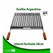 Grelha Argentina Churrasqueira lateral fechada inox 77x48cm
