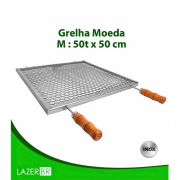 Grelha Moeda para Churrasqueira 5 espetos inox 50x50cm