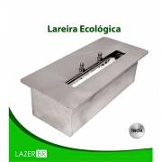 Lareira Ecológica Inox Retangular sem base a álcool etanol